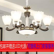 灯LED欧式锌合金古铜色水晶吊灯客厅卧室餐厅别墅复式楼大厅大气