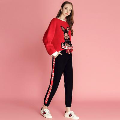 MIUCO女装2018秋季新款抽绳松紧腰侧缝撞色时髦百搭显瘦休闲裤子