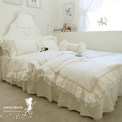 进口欧美韩式新款公主嵌蕾丝荷叶边纯棉床上用品全棉床裙四件套