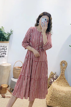 Eve Xuan's new fall dress of 2019 is simple, plaid, retro, slim, seven-minute square collar, lady's skirt loose