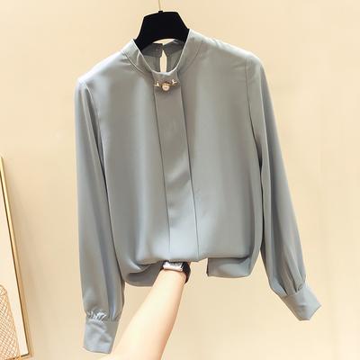 2018秋季新款韩国气质显瘦圆领钉珠纯色长袖雪纺衫女薄款套头衬衫