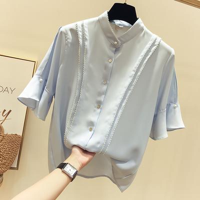 2018夏季新款韩国气质显瘦花边纯色喇叭袖雪纺衫女薄款短袖衬衣