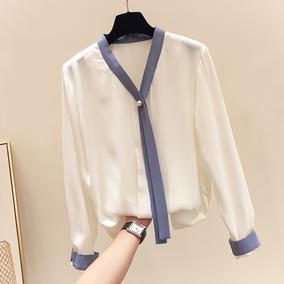 2018秋季新款韩国显瘦气质系带钉珠纯色长袖雪纺衫女薄款套头衬衫
