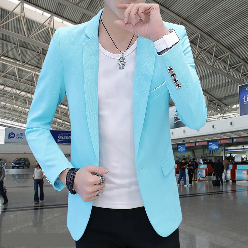 男生蓝色西装小外套