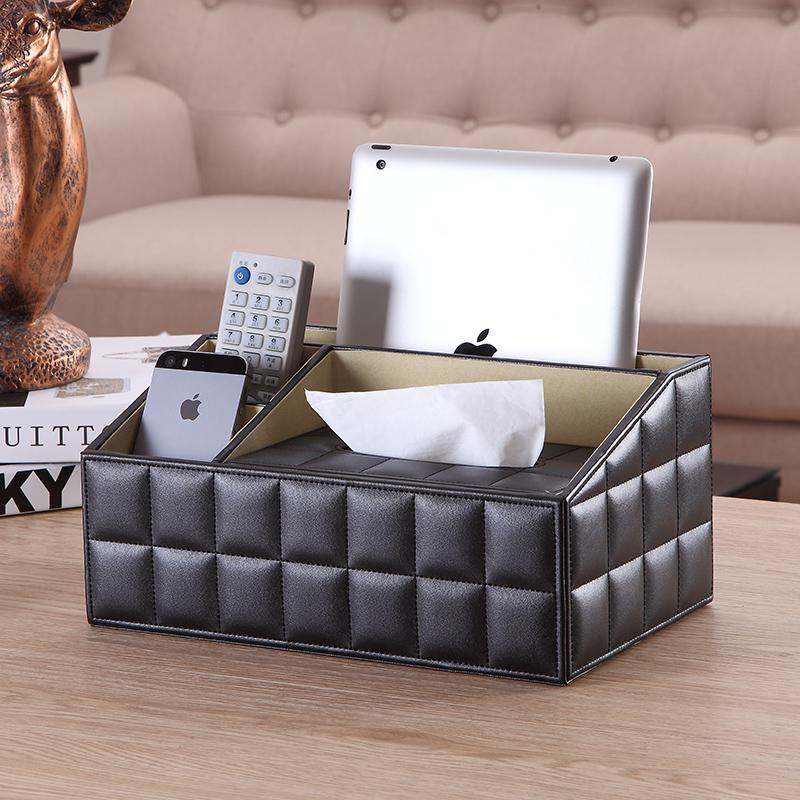 皮革多功能纸巾盒子茶几桌面可爱简约家用客厅遥控器收纳盒抽纸盒