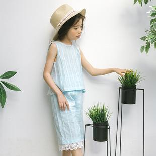2018女童春新款套装 韩版洋气两件套世时髦无袖背心T恤+花边短裤