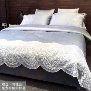 欧式水洗真丝纯棉床上四件套纯色花边蕾丝公主六件套美式1.8m床品