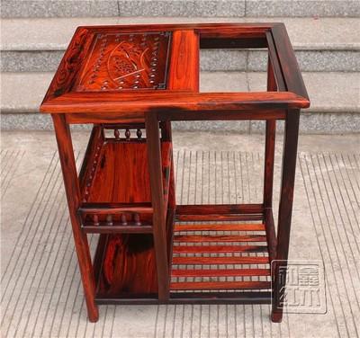 红木家具老挝大红酸枝茶几茶水架交趾黄檀中式小茶桌储物架正品折扣