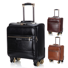Business man PU suitcase, universal pulley suitcase, travel suitcase, suitcase, transverse suitcase, 16 inches
