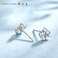 Zhou Dasheng Platinum Stud Earrings Female Genuine New Fashion Maple Leaf Temperament Personality Pt950 Platinum Earrings Earrings