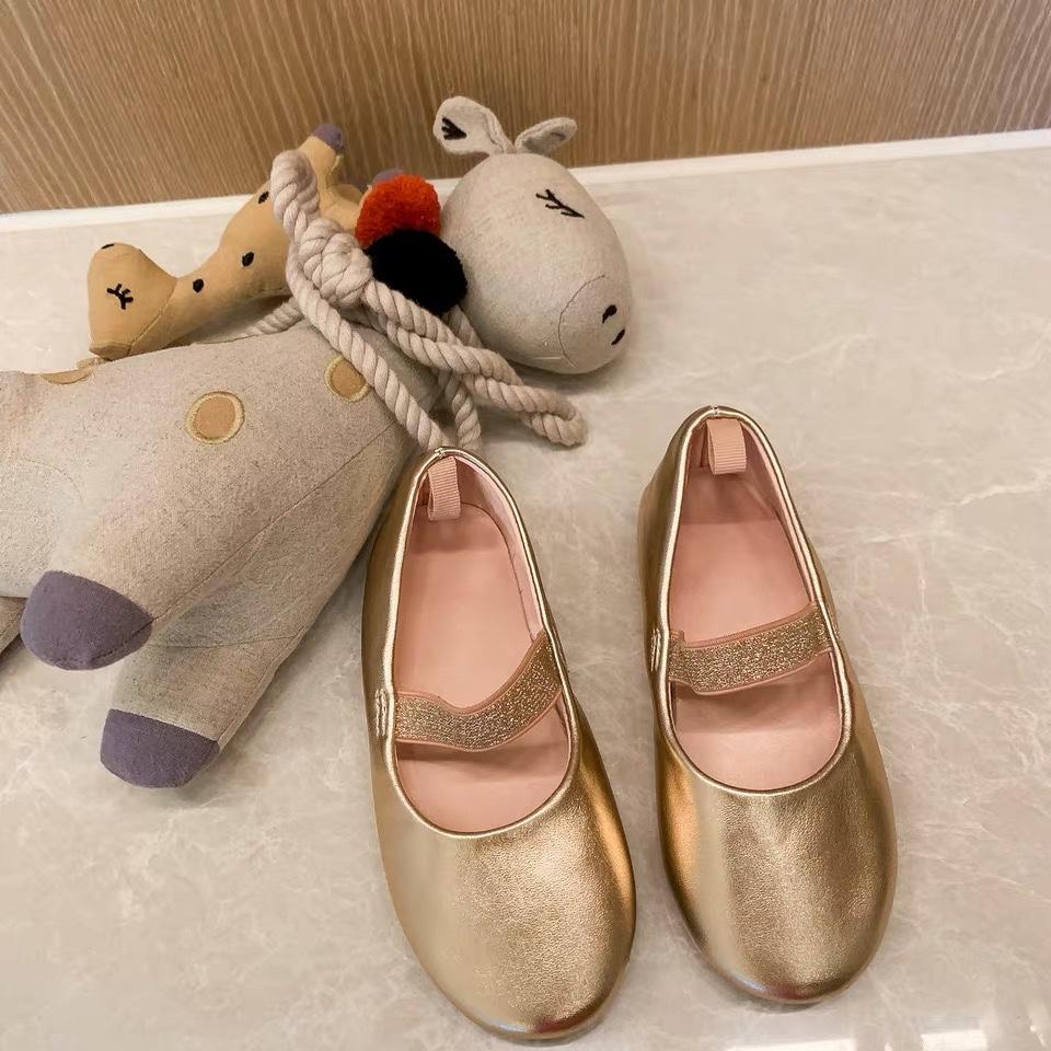史豌豆 童鞋2019新款夏香檳色松緊帶時尚公主鞋單鞋圓頭女童皮鞋