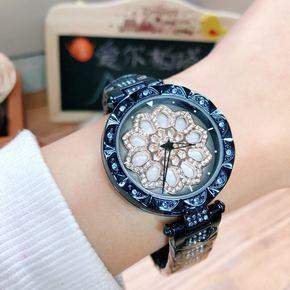 新款时来运转水钻百搭女表韩版时尚潮流学生钢带时装腕表防水手表