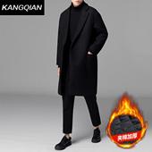 修身 加棉加厚潮流落肩男装 风衣呢子外套 冬季中长款 毛呢大衣男韩版图片