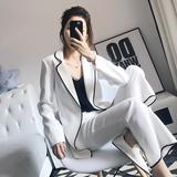 白色职业休闲网红西装套装女韩版两件套小香风时尚潮流气质英伦风