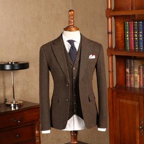 IsirHonour复古花呢咖啡色人字纹羊毛呢修身男西装英伦绅士男西服