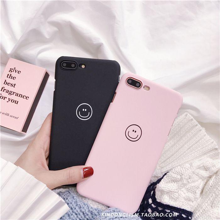 黑色粉色笑脸 iphone8/X/7plus手机壳苹果6/6s简约情侣磨砂保护套