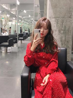 荷静gogo春装2019新款复古中长款雪纺长袖红色连衣裙女气质仙女裙