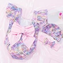 小孩泳衣婴幼儿女童韩版儿童美人鱼公主连体泳装蝴蝶结连身游泳衣