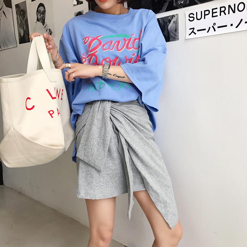 短裙女夏2018新款时尚百搭半身裙系带纯色a字包臀裙不规则裙子潮