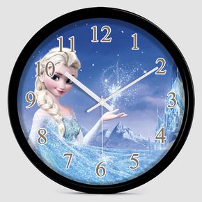 卡通冰雪奇缘挂钟  静音儿童房客厅现代创意时尚钟表家居壁挂钟