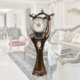 European floor-to-ceiling clock living room modern vertical deer head creative ornaments luxury vertical clock high-end villa big seat clock clock
