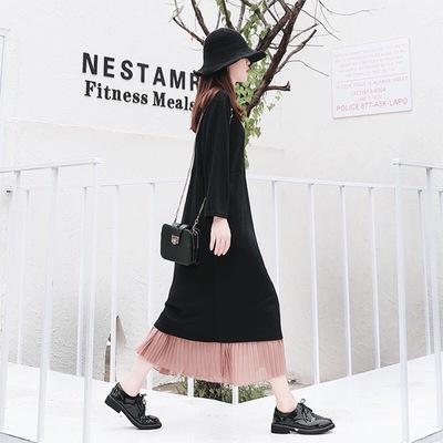 2019新款春时尚宽松不规则开叉百褶雪纺撞色大码连衣裙假两件长裙