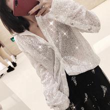 2017冬季新品重工流星亮片blingbling单排扣翻领长袖白衬衫女装
