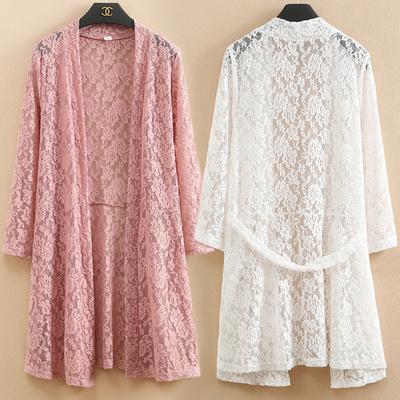蕾丝开衫女春夏新款中长款上衣薄纱修身显瘦镂空防晒衣外搭空调衫