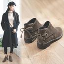 短靴女2017冬季新款韩版百搭粗跟英伦风加绒学生女鞋原宿马丁靴潮
