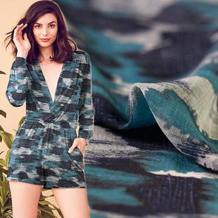 风尚㏄蓝灰色印染系真丝乔其纱飘逸感轻薄型夏季桑蚕丝连衣裙面料