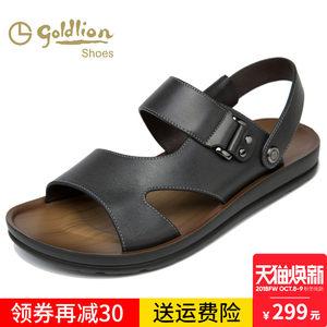 Goldlion/金利来男鞋夏季真皮沙滩鞋男凉鞋休闲鞋露趾透气凉皮鞋