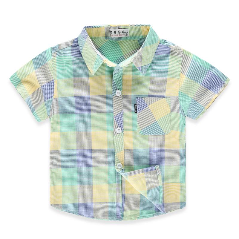男童短袖衬衣 儿童小童纯棉半袖衬衫2017夏装新宝宝格子衬衫薄款