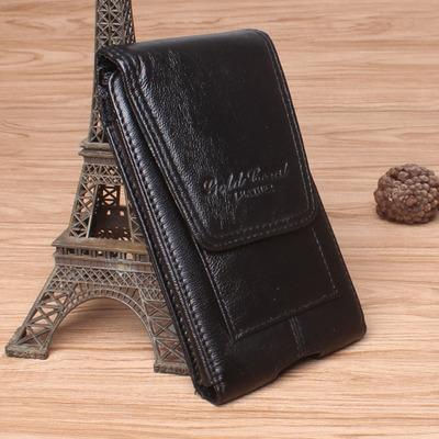 金珊瑚休闲牛皮腰包 男包包 苹果5.5寸穿皮带竖款手机包真皮腰包