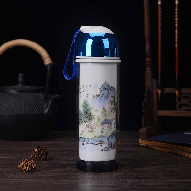 双层陶瓷内胆水温玻璃杯办公商务礼品茶杯景德镇高档养生杯子定制