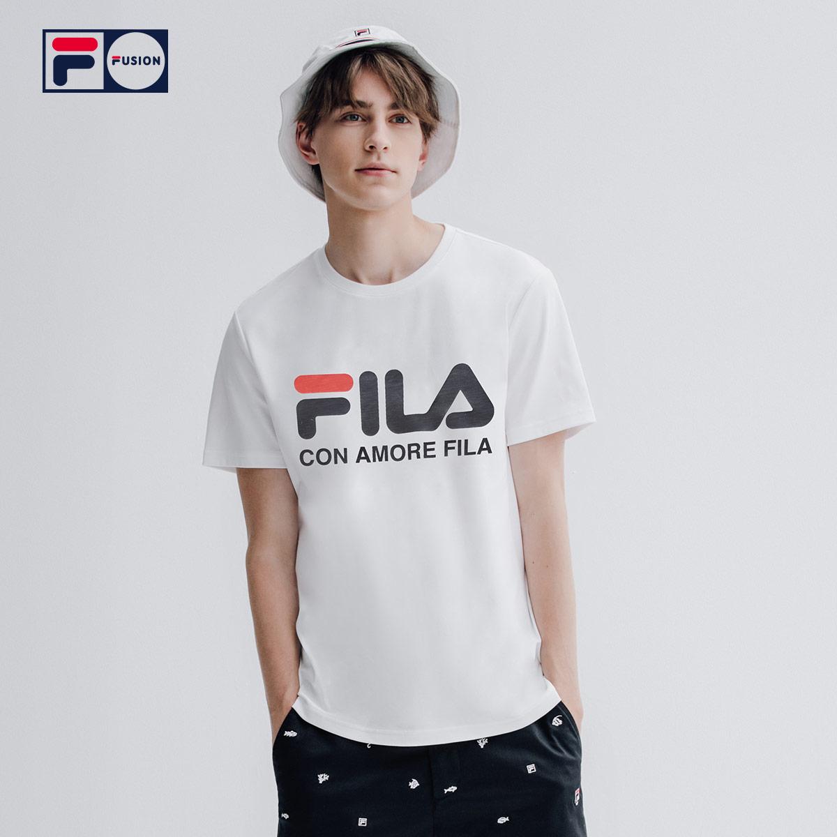 FILA FUSION 斐乐 男子短袖T恤 2020春季透气休闲运动圆领百搭短T