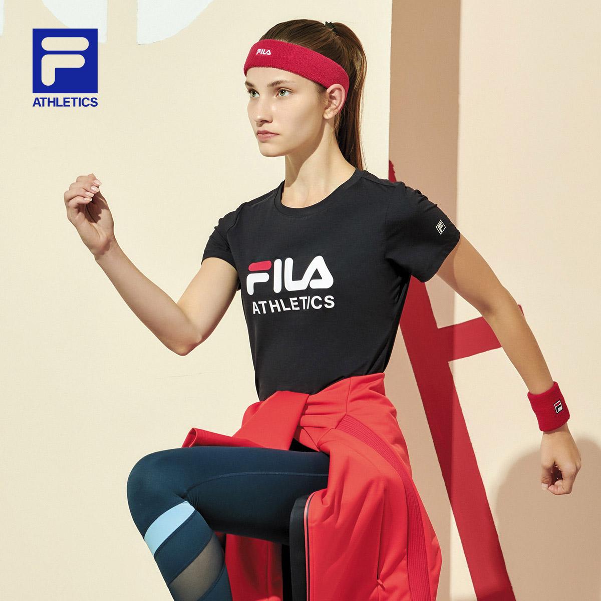 FILA 斐乐官方 女子短袖T恤 2020春季新款时尚运动T恤上衣