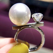 Natural Freshwater Pearl S925 Sterling Silver Seawater Pearl Ring 18K Gold Fashion