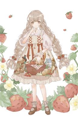 【原创正品】野餐篮子仓鼠lolita围裙罩裙/复古宫廷娃娃op连衣裙