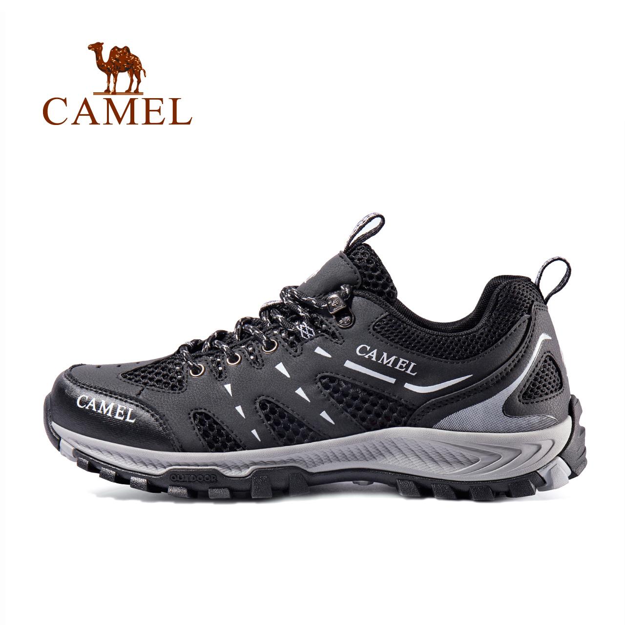【2019新品】骆驼户外男女款徒步鞋 网布透气低帮系带登山徒步鞋