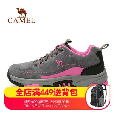 骆驼户外女鞋徒步登山鞋系带防滑耐磨舒适牛皮低帮越野运动鞋