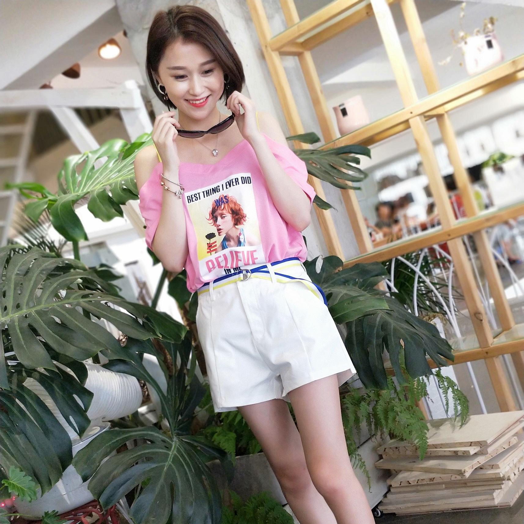 T恤短裤套装2018夏季新款韩版时尚休闲显瘦吊带短袖小清新两件套