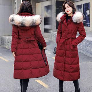 2018冬季新款女装东大门棉袄外套收腰韩版中长款过膝羽绒棉服棉衣