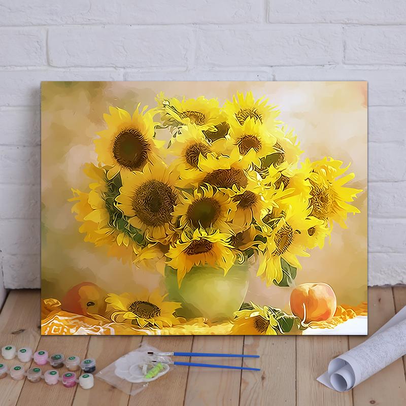 diy数字油画风景花卉客厅卧室 暖阳 欧式有框40*50手绘装饰画包邮