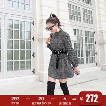 港味名媛裙子女装秋冬季连衣裙2018新款小个子高腰长袖a字裙短款