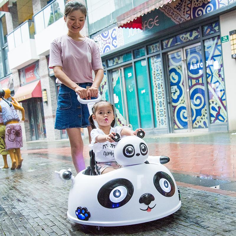 婴儿童电动四轮遥控多功能手推熊猫车男女孩玩具汽车可坐人摩托车