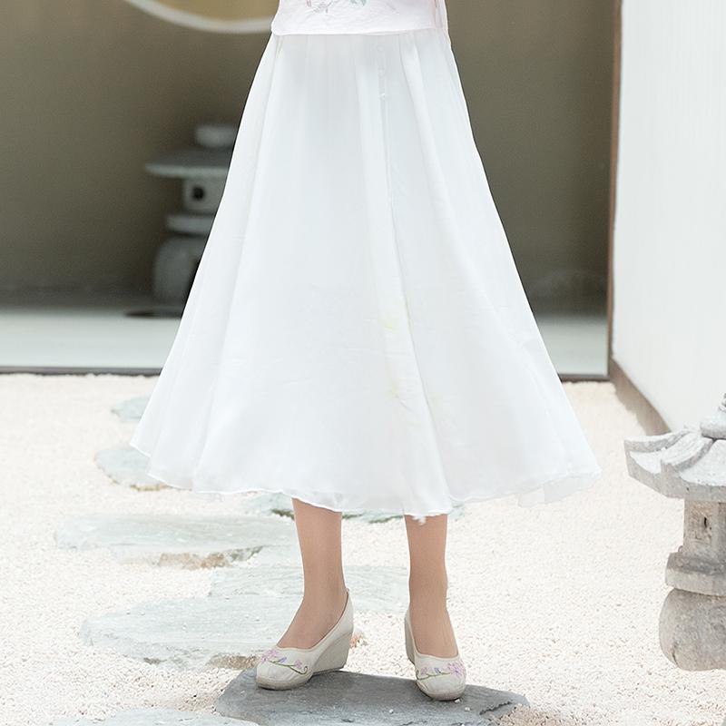 中国风时尚雪纺半身裙沙滩裙女 夏季新款百搭气质a字纱裙公主裙