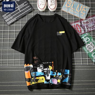 男装2019夏季短袖T恤男士加肥大码宽松上衣韩版潮流胖子半袖体恤