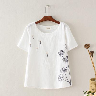 棉麻上衣女短袖宽松亚麻刺绣t恤百搭女装夏季大码打底衫半袖体恤