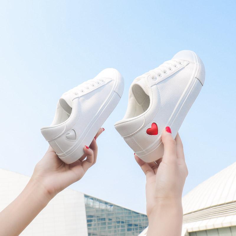 小世学长爱心小白鞋女春季2018新款百搭韩版基础街拍板鞋平底白鞋