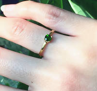 Natural diopside grandmother green ring female 925 silver plated 18K gold color baby stone ring simple fashion